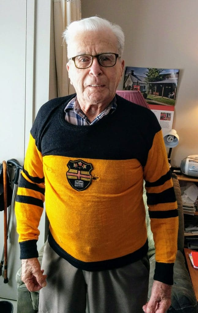 Mervyn wearing his Kemptville College hockey jersey on Sweater Day in April 2018, to honour victims of the Humboltd tragedy